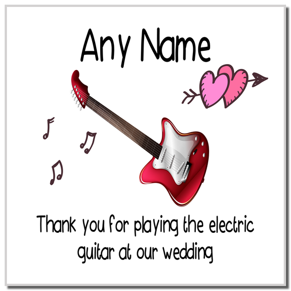 Thank You For Playing The Electric Guitar At Our Wedding Personalised Coaster