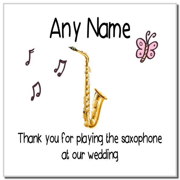 Thank You For Playing The Saxophone At Our Wedding Personalised Coaster