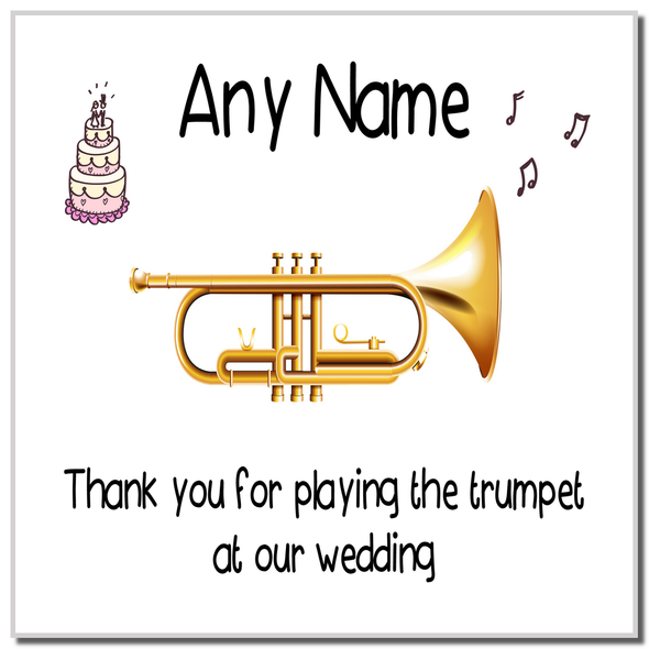 Thank You For Playing The Trumpet At Our Wedding Personalised Coaster