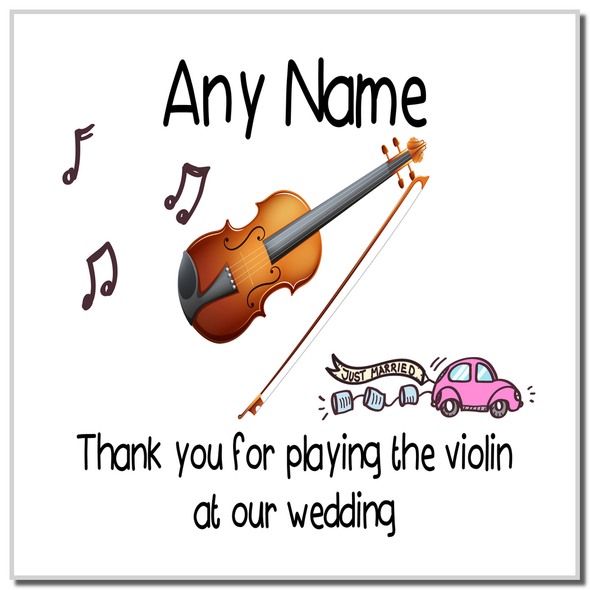 Thank You For Playing The Violin At Our Wedding Personalised Coaster
