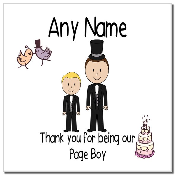 Thank You Page Boy Personalised Coaster