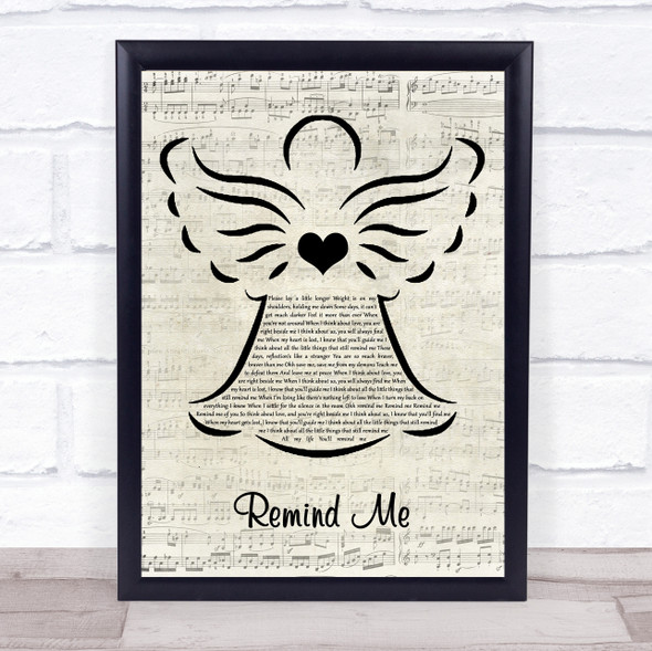 Conrad Sewell Remind Me Music Script Angel Song Lyric Quote Music Print