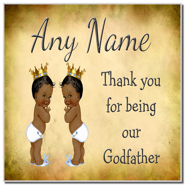 Vintage Baby Twin Black Boys Godfather Thank You Personalised Coaster