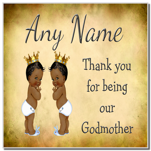 Vintage Baby Twin Black Boys Godmother Thank You Personalised Coaster