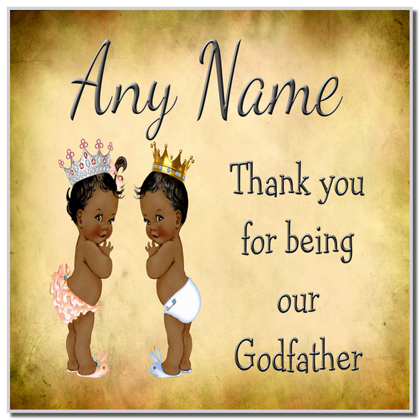 Vintage Baby Twin Black Girl & Boy Godfather Thank You Personalised Coaster