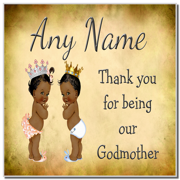 Vintage Baby Twin Black Girl & Boy Godmother Thank You Personalised Coaster