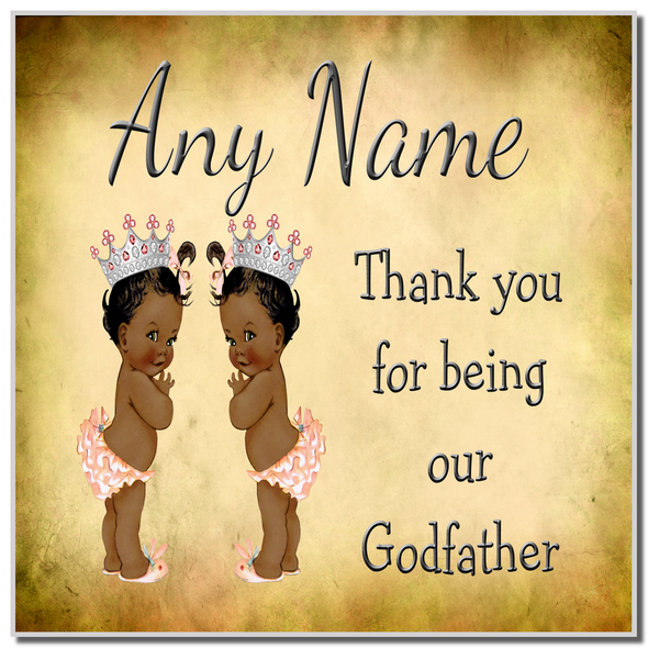 Vintage Baby Twin Black Girls Godfather Thank You Personalised Coaster