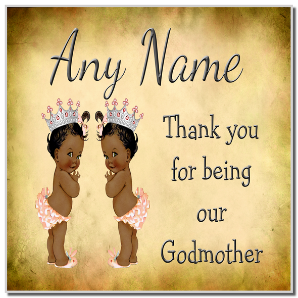 Vintage Baby Twin Black Girls Godmother Thank You Personalised Coaster