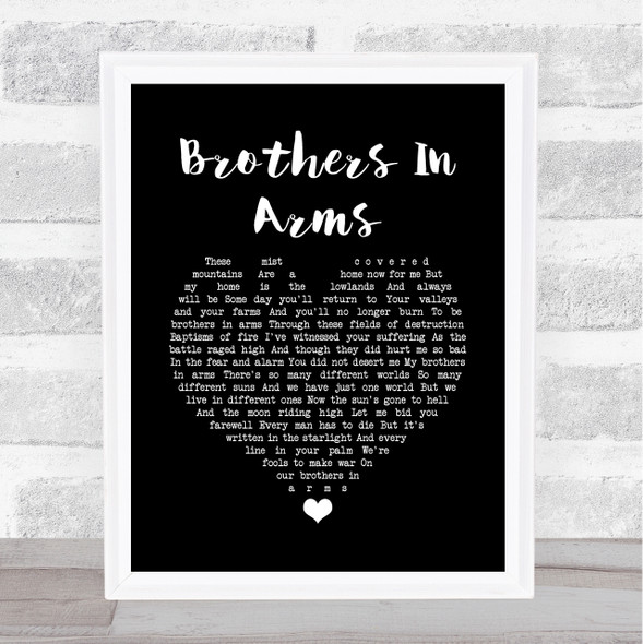 Dire Straits Brothers In Arms Black Heart Song Lyric Quote Music Print