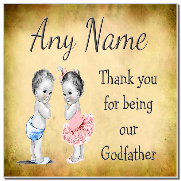Vintage Baby Twin Boy & Girl Godfather Thank You Personalised Coaster