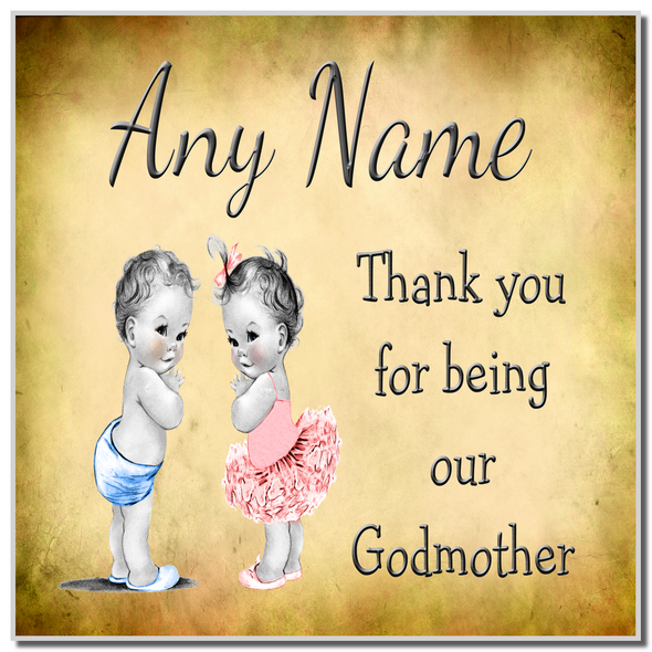 Vintage Baby Twin Boy & Girl Godmother Thank You Personalised Coaster