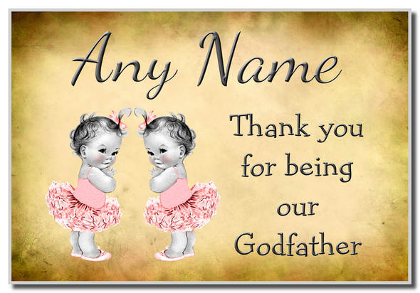 Vintage Baby Twin Girls Godfather Thank You Personalised Coaster
