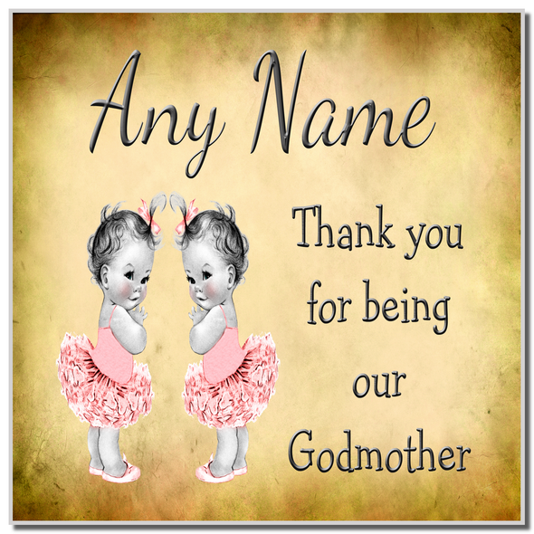 Vintage Baby Twin Girls Godmother Thank You Personalised Coaster