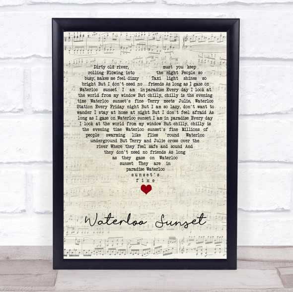 The Kinks Waterloo Sunset Script Heart Song Lyric Quote Music Print
