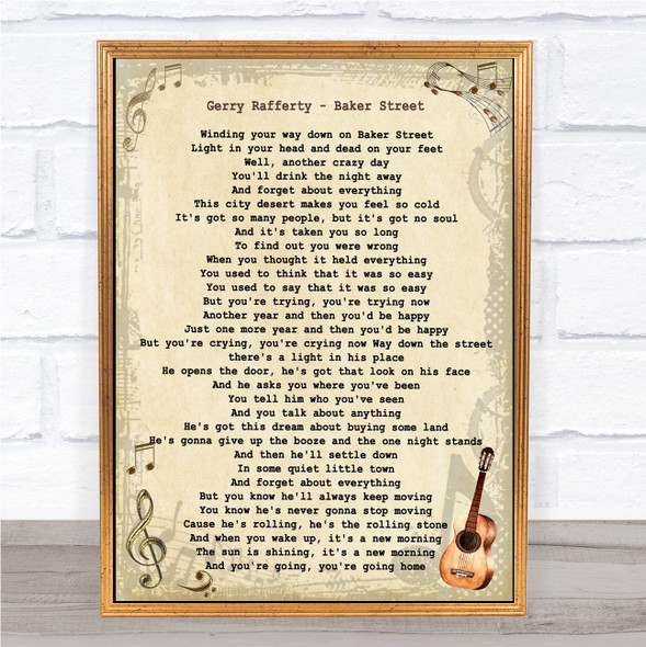 Gerry Rafferty Baker Street Vintage Guitar Song Lyric Quote Music Print