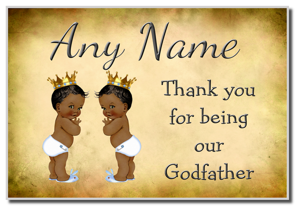 Vintage Baby Twin Black Boys Godfather Thank You  Personalised Magnet