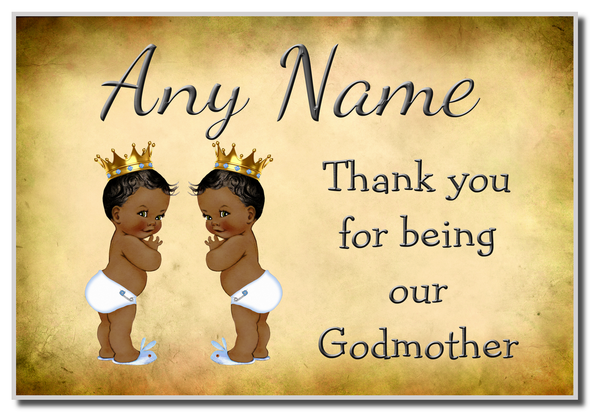 Vintage Baby Twin Black Boys Godmother Thank You  Personalised Magnet