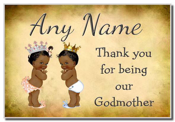 Vintage Baby Twin Black Girl & Boy Godmother Thank You  Personalised Magnet