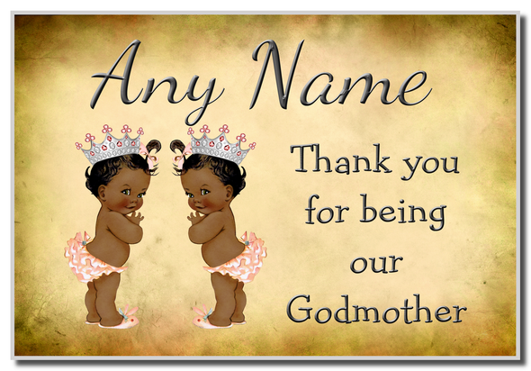 Vintage Baby Twin Black Girls Godmother Thank You  Personalised Magnet