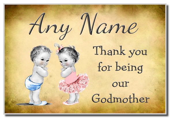 Vintage Baby Twin Boy & Girl Godmother Thank You  Personalised Magnet