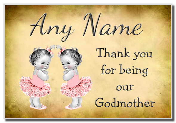 Vintage Baby Twin Girls Godmother Thank You  Personalised Magnet