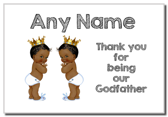 Baby Twin Black Boys Godfather Thank You  Personalised Magnet