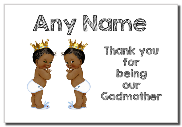 Baby Twin Black Boys Godmother Thank You  Personalised Magnet