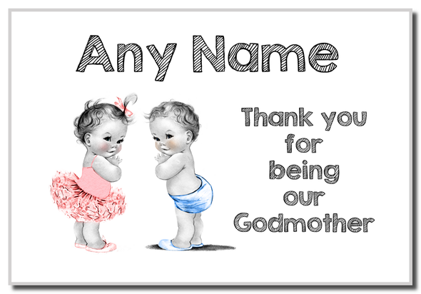 Baby Twin Boy & Girl Godmother Thank You  Personalised Magnet
