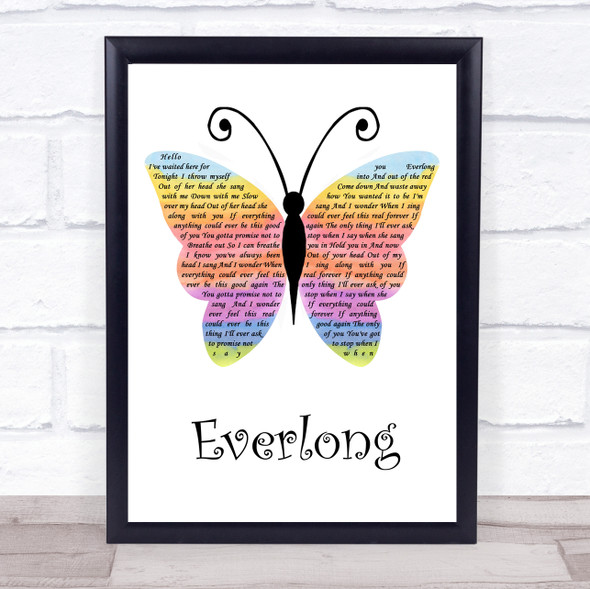 Foo Fighters Everlong Rainbow Butterfly Song Lyric Quote Music Print