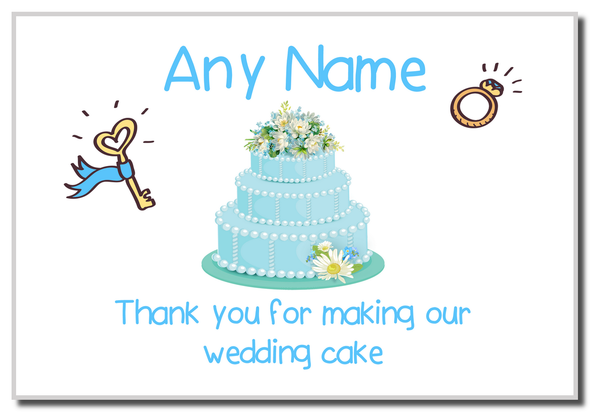 Thank You For Making Our Wedding Cake Blue  Personalised Magnet