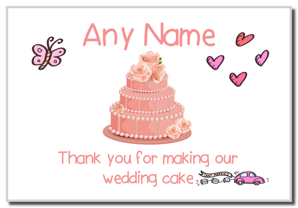 Thank You For Making Our Wedding Cake Coral  Personalised Magnet