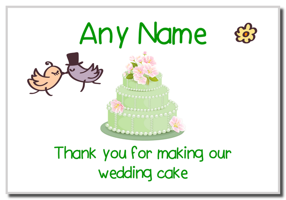 Thank You For Making Our Wedding Cake Green  Personalised Magnet