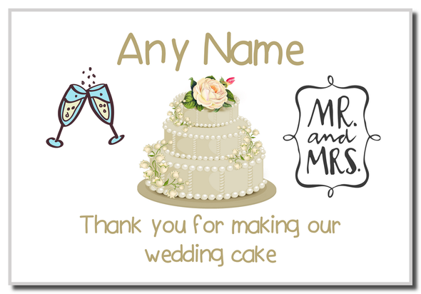 Thank You For Making Our Wedding Cake Ivory  Personalised Magnet
