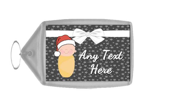 Xmas White Baby Christmas Personalised Keyring