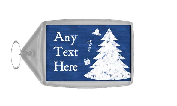 Blue Chalk Tree Christmas Personalised Keyring