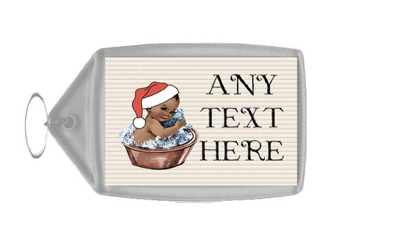 Vintage Xmas Brown Skin Boy in Bath Christmas Personalised Keyring