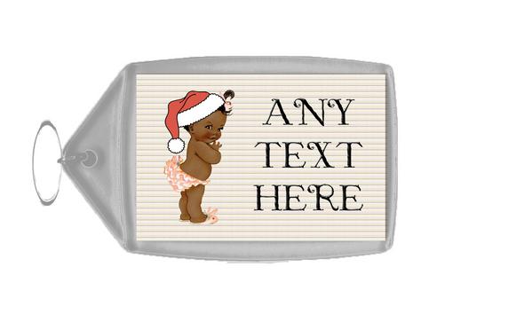 Vintage Xmas Brown Skin Girl Christmas Personalised Keyring