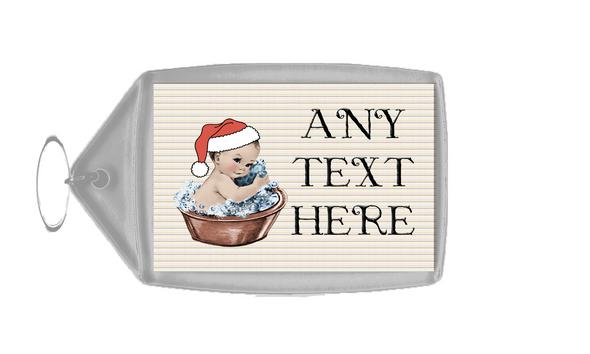 Vintage Xmas White Skin Boy in Bath Christmas Personalised Keyring