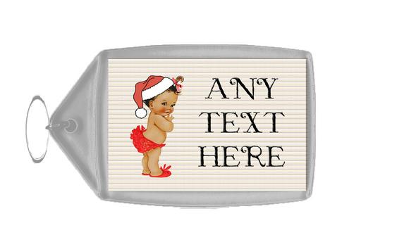 Vintage Xmas White Skin Girl Christmas Personalised Keyring