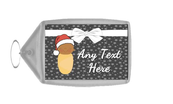 Xmas Brown Baby Christmas Personalised Keyring