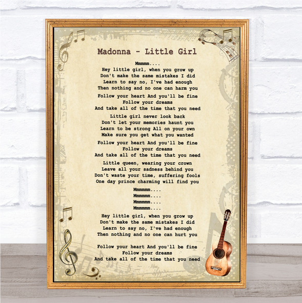 Madonna Little Girl Vintage Guitar Song Lyric Quote Music Print