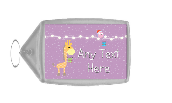 Giraffe and Present Christmas Personalised Keyring