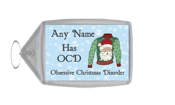 Novelty Jumper OCD Christmas Personalised Keyring