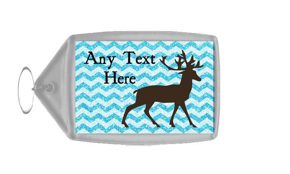 Reindeer Blue Glitter Christmas Personalised Keyring
