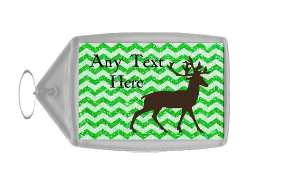 Reindeer Green Glitter Christmas Personalised Keyring