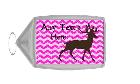 Reindeer Pink Glitter Christmas Personalised Keyring