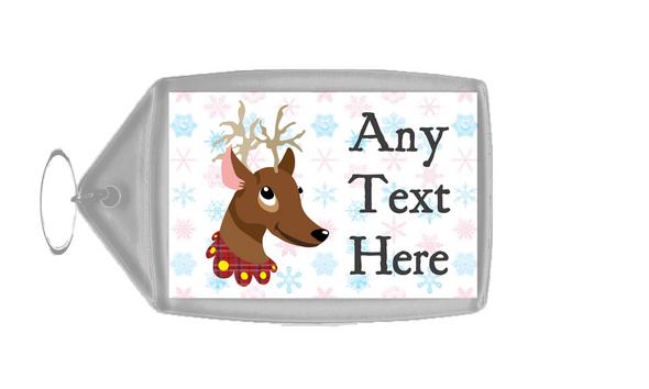 Reindeer Snowflakes Christmas Personalised Keyring
