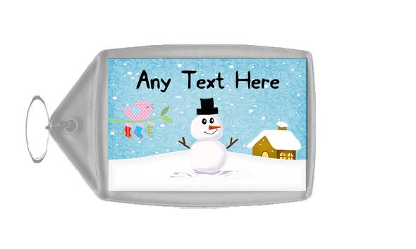 Snowman and Bird Singing Christmas Personalised Keyring