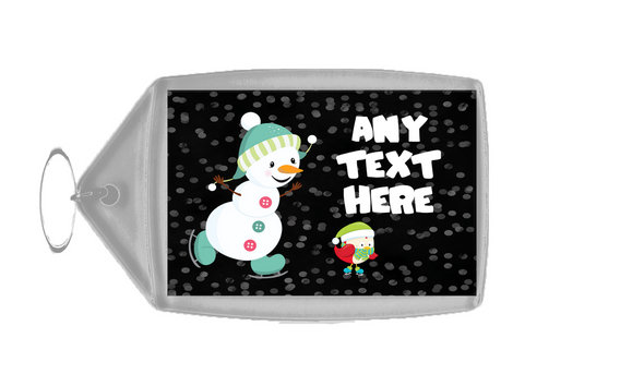 Snowman Ice Skating Christmas Personalised Keyring