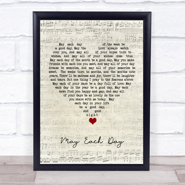 Andy Williams May Each Day Script Heart Song Lyric Quote Music Print